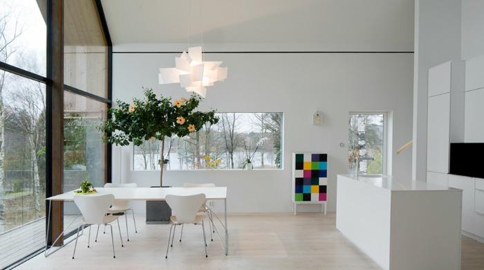 The dining room inside Villa Bondö.