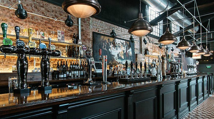 The bar at the Bohemia pub in London.