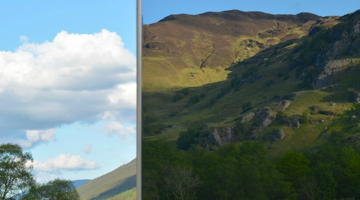 A close up of the mirrored viewpoint.