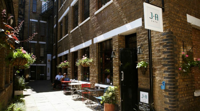 The exterior of the J+A Cafe, tucked away in a courtyard.