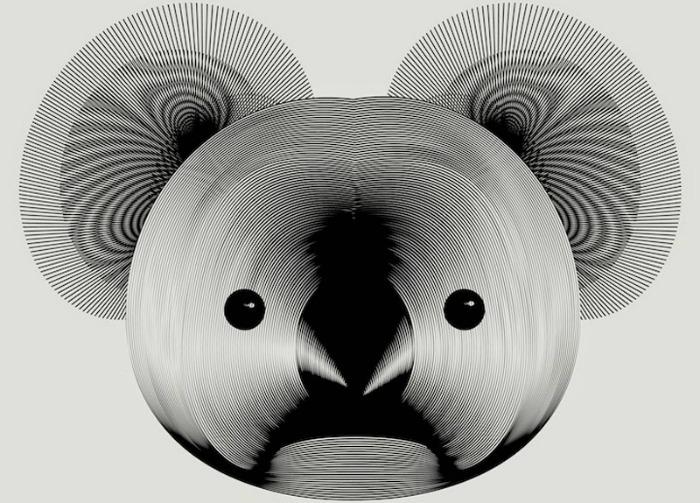 A monochrome illustration of a koala's face by Andrea Minini.