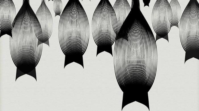 A monochrome illustration of a colony of bats by Andrea Minini.