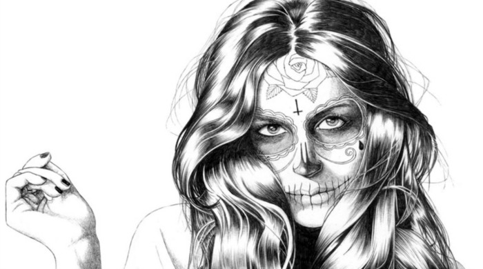 A drawing of a woman with 'Day of the Dead' makeup by Florian Meacci.