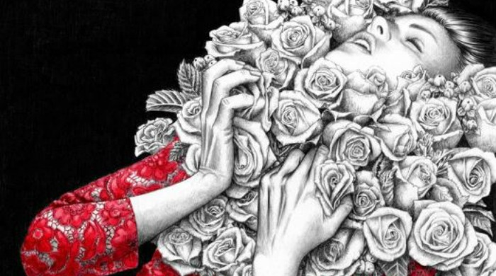 A drawing of a women in a red, lace dress with roses around her neck by Florian Meacci.