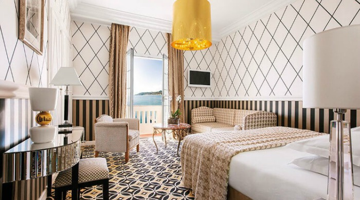 A bedroom in the Hotel Belles Rives.