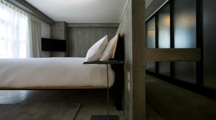 A bedroom in the Tuve Hotel, Hong Kong.