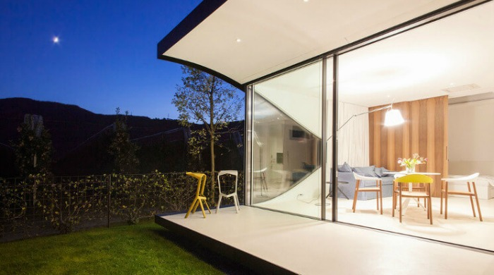 A view into the dining area in one of the Mirror Houses.