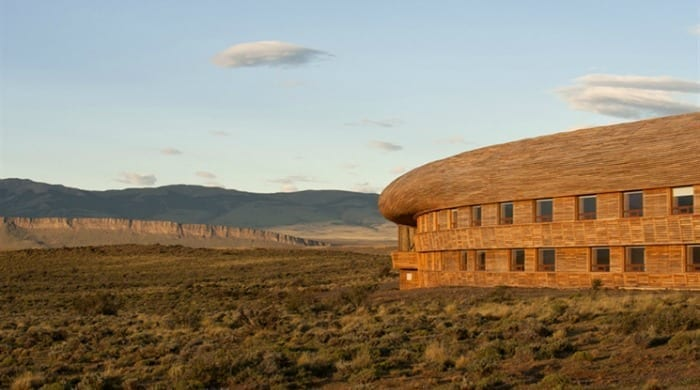 The outside of the Tierra Patagonia Hotel & Spa.