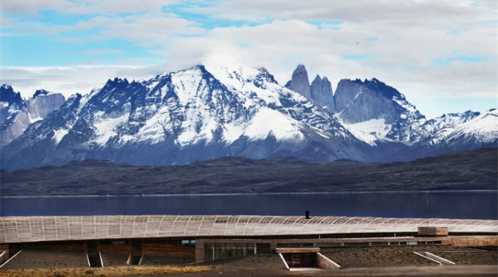 A view of the mountains from the Tierra Patagonia Hotel & Spa.