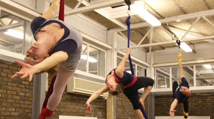 Alternative fitness class Aerial Silks at Flying Fantastic