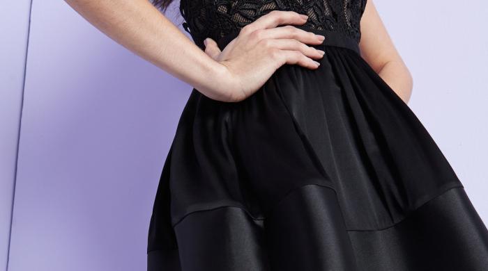 Three Floor Black Skirt