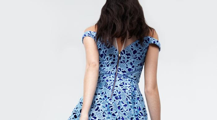 Three Floor Blue Dress