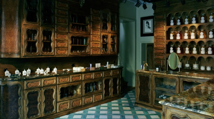 Traditional cabinets and drawers inside Buly 1803, a French pharmacy.