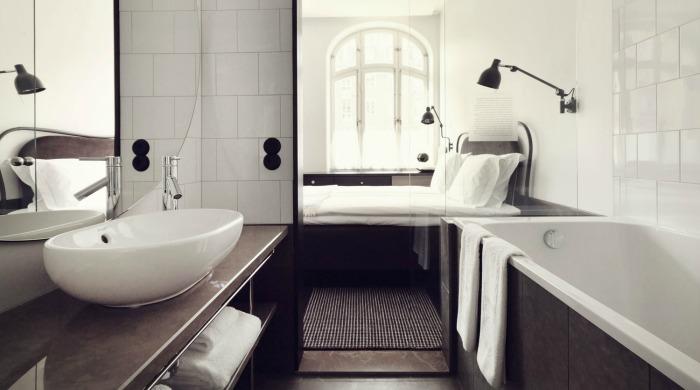 A bathroom in Miss Clara Hotel, Stockholm.