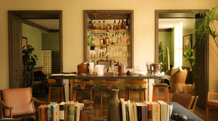 A bar and living area in the South Kensington Club.