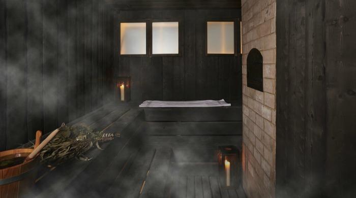 A sauna in the South Kensington Club.