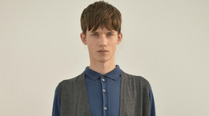 A male model in John Smedley clothing.