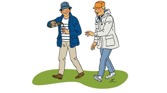 A cartoon drawing of two men wearing Arpenteur clothing.
