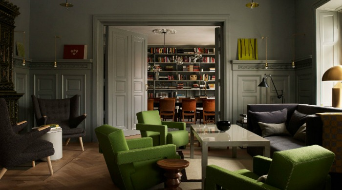 A lounge in the Ett Hem hotel, Stockholm.