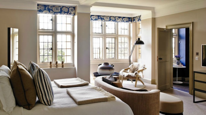 A bedroom in Foxhill Manor, Cotswolds.