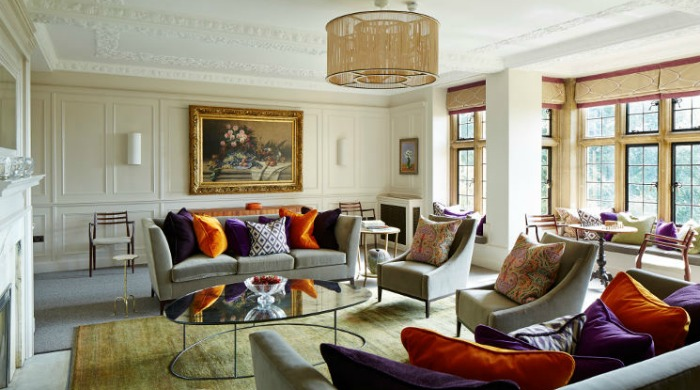 A lounge area in Foxhill Manor, Cotswolds.
