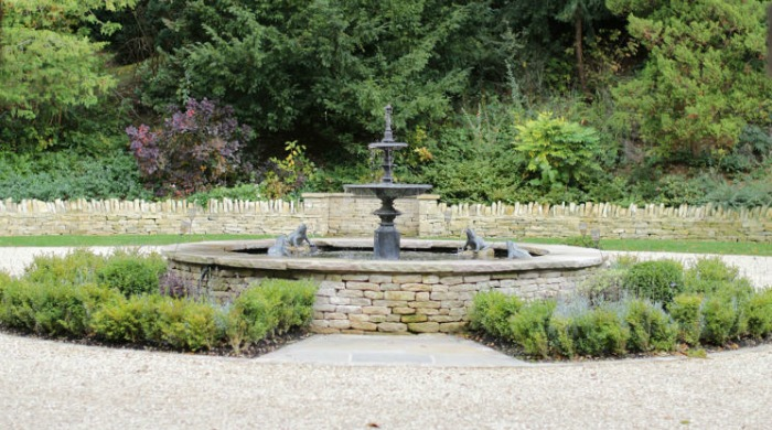 A fountain in the gardens of Foxhill Manor, Cotswolds.