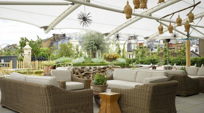 An outdoor seating area in the Ham Yard Hotel, London.