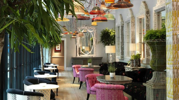 A dining area in the Ham Yard Hotel, London.