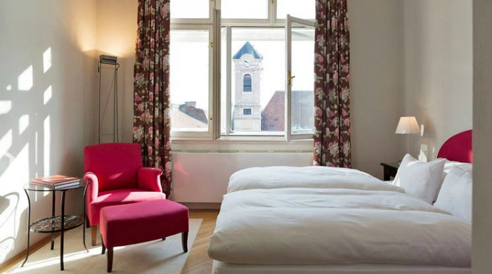 A bedroom in Hotel Altstadt, Vienna.