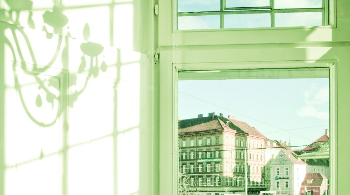 The view from a bedroom in Hotel Wiesler, Graz.