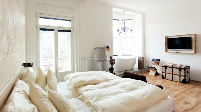 A bedroom in Hotel Wiesler, Graz.
