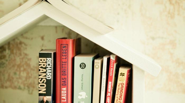 A bookshelf in Hotel Wiesler, Graz.