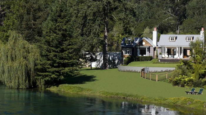 The gardens and lake by Huka Lodge, New Zealand.