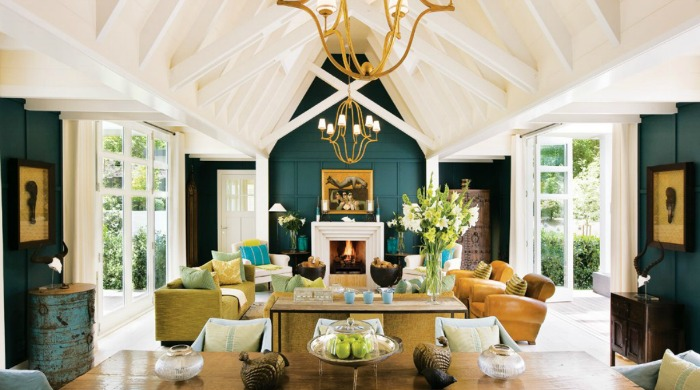 A lounge area inside Huka Lodge, New Zealand.