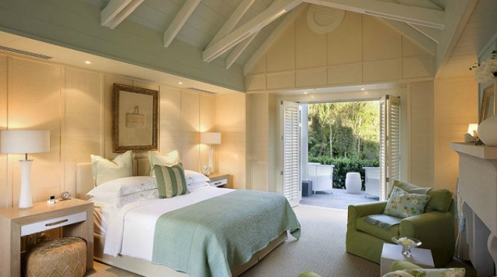 A bedroom in Huka Lodge, New Zealand.