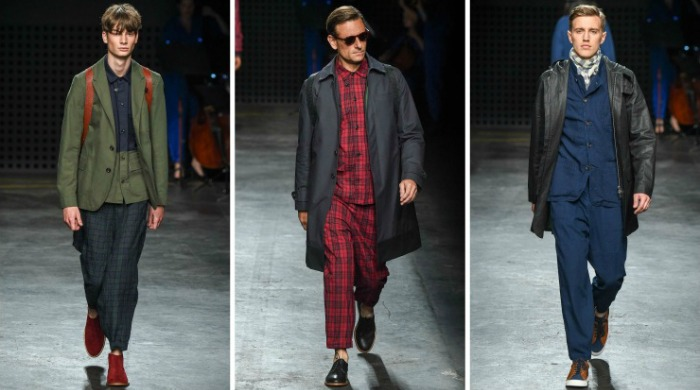 Male models on the catwalk for the London Collections Men Oliver Spencer SS16 show.