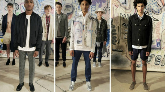 Male models at the London Collections Men Soulland SS16 show.