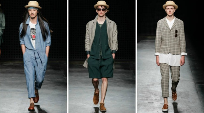 Male models at the London Collections Men YMC SS16 show.