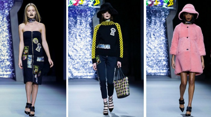 Models on the catwalk for the London Fashion Week Ashley Williams AW15 show.