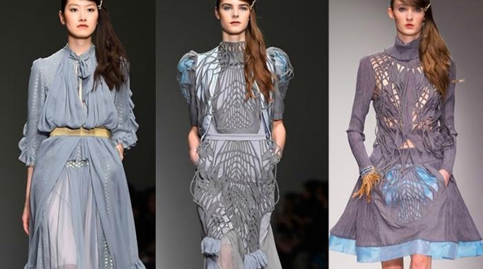 Models on the catwalk for the London Fashion Week Bora Aksu AW15 show.
