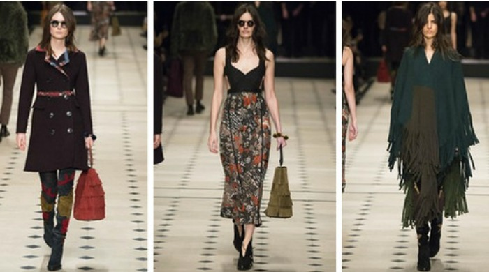 Models on the catwalk for the London Fashion Week Burberry AW15 show.