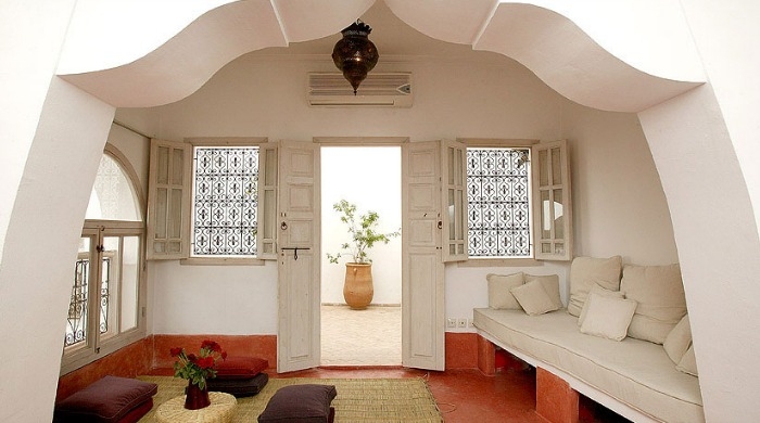 An indoor lounge area at Riad O2, Morocco.