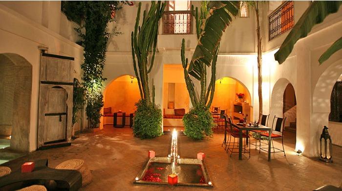 A courtyard inside Riad O2, Morocco.