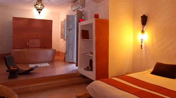 A bedroom inside Riad O2, Morocco.