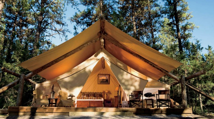 A large tent at Paws Up, Montana.