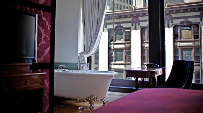 A bedroom inside the NoMad Hotel, New York.