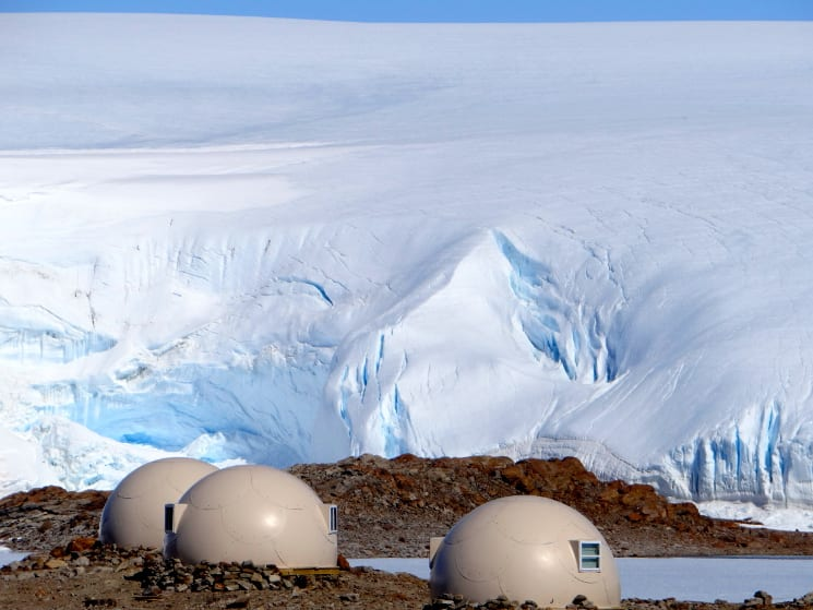 whichaway camp Sleeping pods in front of the ice fall