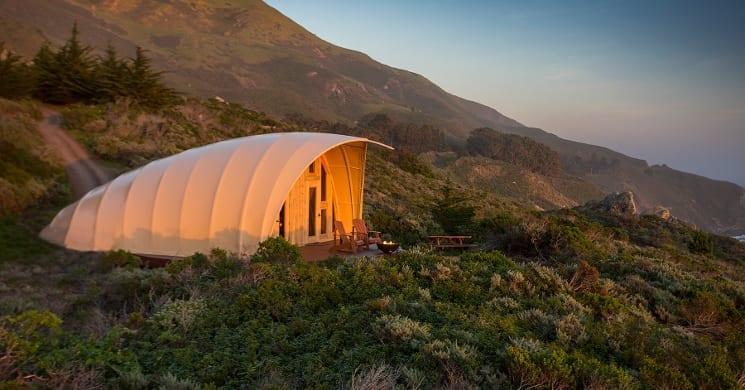 autonomous tent hillside