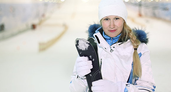 woman on ski slope